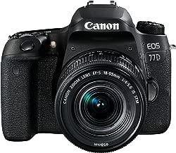 Canon EOS 77D EF-S 18-55mm F4-5.6 IS STM lens , 24.2 MP DSLR Camera, Black