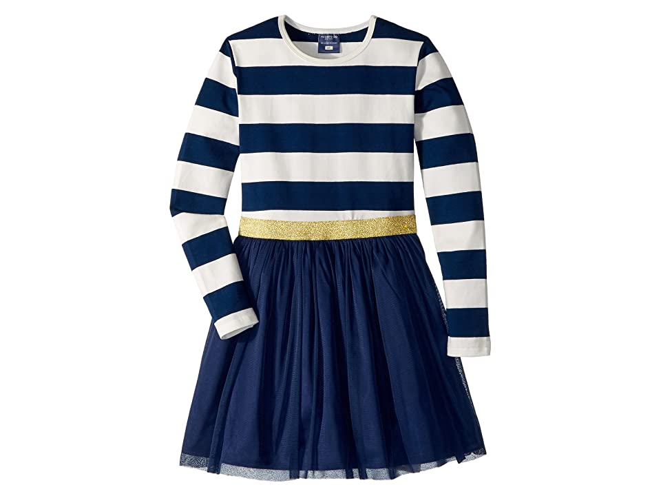 Toobydoo Tulle Dress w/ Rugby Stripe (Infant/Toddler/Little Kids/Big Kids) (Navy/White) Girl