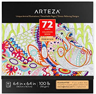 Arteza Coloring Book for Adults, 6.4 x 6.4 Inches, 72 Sheets, Animal Designs, Detachable Pages, Gray Outlines, 100 lb Pape...