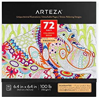Arteza Coloring Book for Adults, Animal Illustrations, Gray Outlines, 72 Sheets, 100 lb, 6.4x6.4 Inches, for Anxiety, Stre...