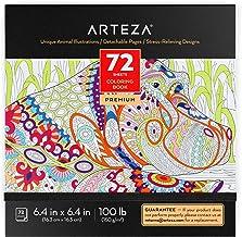 Arteza Libro de colorear para adultos, ilustraciones de animales, tamaño libreta de 16,3 x 16,3 cm, 72 hojas de 150 g/m², ideal para la ansiedad, relájate coloreando, hojas extraíbles