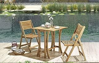 Hanie Design SG120 Sunset Garden Series Alley Folding Outdoor Bistro Set   3-Piece Real Wood, Natural