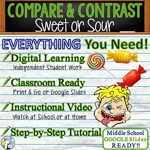 Compare and Contrast Writing Essay -Distance Learning, Independent Student Instruction, Lesson, Instructional Video, PPT, Worksheets, Rubric, Graphic Organizer, & Google Slides – Sweet or Sour