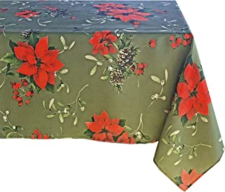Newbridge Peaceful Poinsettia Allover Print Christmas Fabric Tablecloth, Holly Berry Xmas Print Cloth Tablecloth, 60 Inch x 144 Inch Oblong/Rectangle, Green