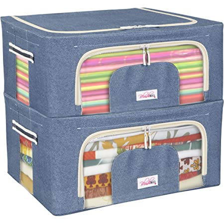 BlushBees Fabric Living Box - Closet Organizer Cloth Storage Boxes for Wardrobe - 44 Litre (Pack of 2, Cowboy Blue)
