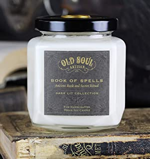 Book of Spells - Old Book Lovers Candle - Spellbook Bookish Bookworm Literature Gift for Readers 9oz