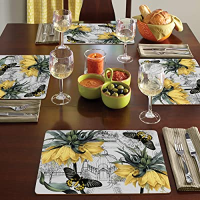 Cala Home 4 Premium Hardboard Placemats Table Mats Bowl Of Blooms Kitchen Dining