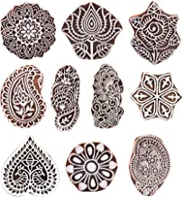 Hashcart Hand-Carved Wooden Baren/Motif Printing Block for Artistic Design On Saree Border/Painting - Xmas Gifts