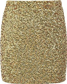 b5e18d5d68 PrettyGuide Women's Sequin Skirt Stretchy Bodycon Sparkle Mini Skirt Night  Out