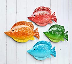 ShabbyDecor Coastal Ocean Sea Metal Fish Hanging Wall Art Decor Set of 4 for Outdoor or Indoor