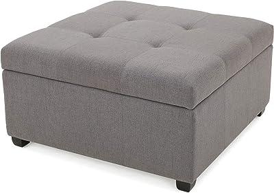 Christopher Knight Home Carlsbad Fabric Storage Ottoman, Dark Grey