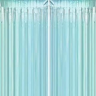 JUICY MOOM Aqua Blue Tinsel Foil Fringe Curtains - Under The Sea Baby Shower Birthday Photo Backdrops Bachelorette Wedding Bridal Shower Party Decor Photo Booth Props Backdrops Decorations, 2pc