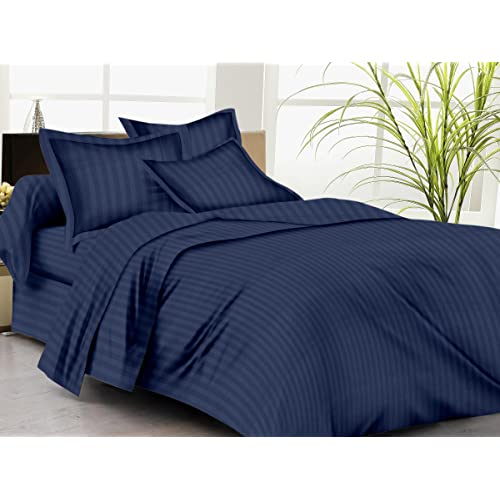Trance Home Linen 100% Cotton 200TC Satin Stripe Single Duvet Cover with 1 Pillow Cover (Navy Blue)