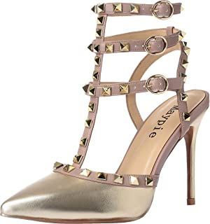 89d3ff0d4ecd MAYPIE Women s Sexy Pointed Closed Toe Rivets Studded Ankle T-Strap 3.94  Inches High Heel