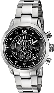 Stuhrling Men's Black Dial Stainless Steel Band Watch - 816.02
