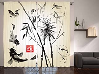 Ambesonne Japanese Curtains, Artistic Birds Fishes and Bamboo Leaves Abstract Painting Oriental Style, Living Room Bedroom Window Drapes 2 Panel Set, 108 W X 84 Inches, Black Gray Ivory