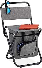 Relaxdays Campingkruk met tas, opvouwbaar, met rugleuning, camping, tuin, draagbare klapkruk, 60 x 35 x 35 cm, grijs