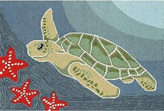 """(2'6"""" x 4') - Liora Manne Frontporch Blue Ocean Sea Turtle Area Rug"""