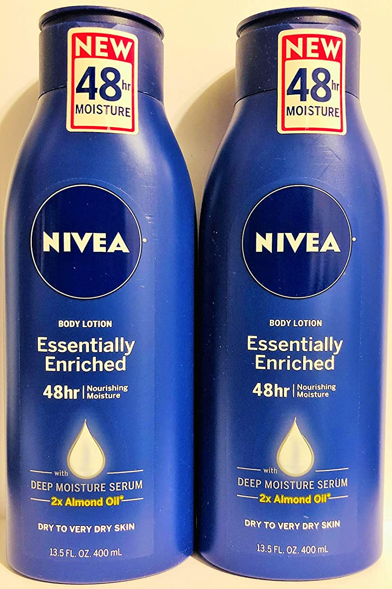 Nivea Body Lotion - Essentially Enriched - With Almond Oil - Net Wt. 13.5 FL OZ (400 mL) Per Bottle - Pack of 2 Bottles