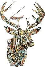 Cardboard Safari Recycled Cardboard Animal Taxidermy Deer Trophy Head, Modern Art Prints, Drip Bucky Large
