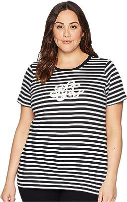 Plus Size Logo Striped Jersey T-Shirt