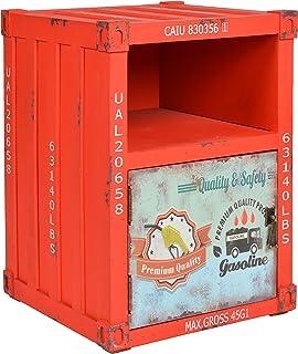 ts-ideen Commode Meuble de Rangement Table de Chevet 1 étagère + 1 Porte Style Industriel/conteneur Coloris Rouge