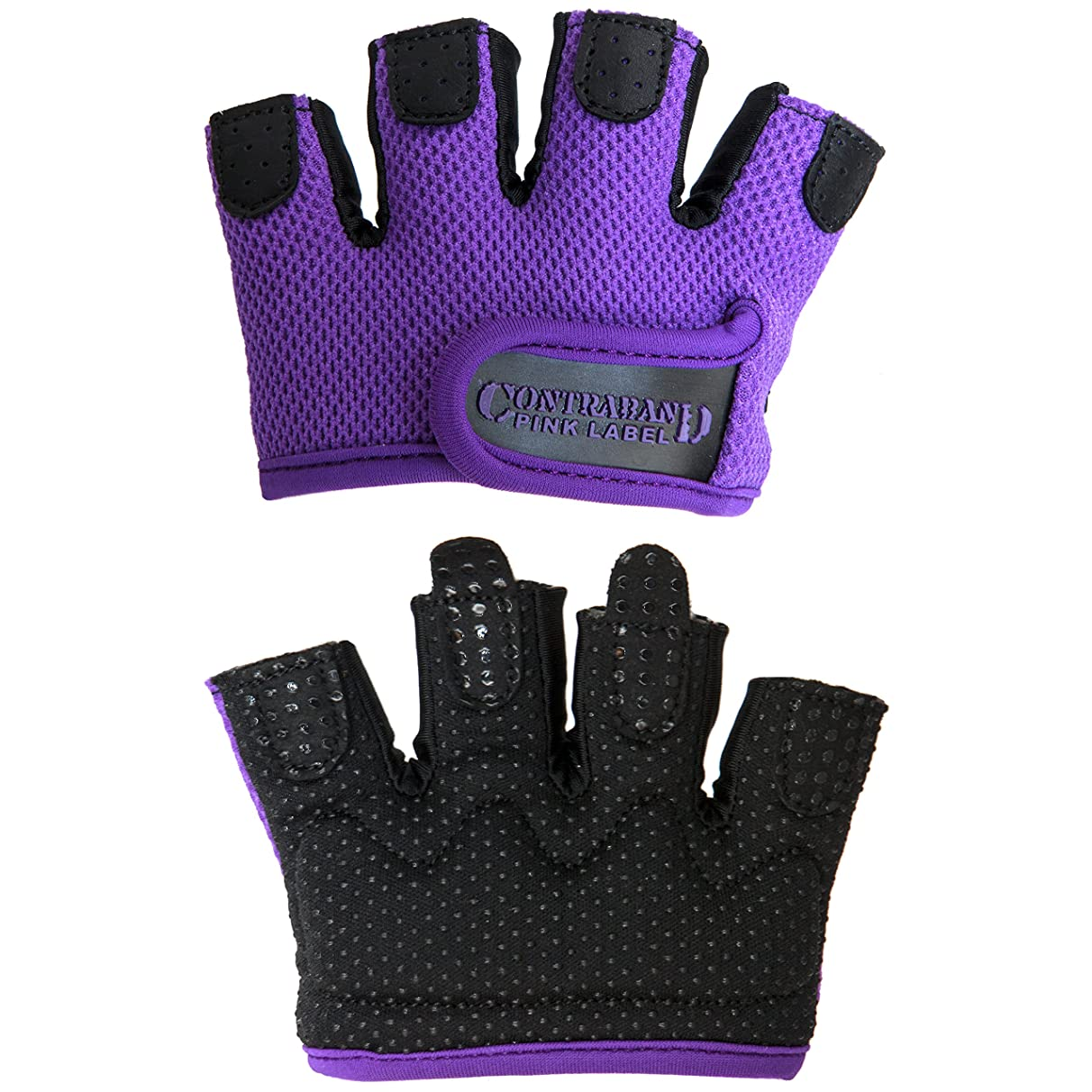 Contraband Pink Label 5537 Womens Micro Weight Lifting Gloves w/Grip-Lock Silicone Padding (Pair) - Minimalist Half Gloves - Apple Watch Friendly