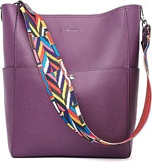 BROMEN Handtasche Damen Leder Schultertasche Umhängetasche Groß Shopper Designer Tasche mit 2 Trageriemen Violett