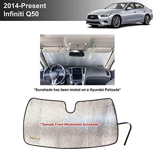 wholesale YelloPro Custom Fit Reflective Front Windshield Sunshade for 2014 2015 2016 2017 2018 online sale 2019 2020 2021 Infiniti Q50 Sedan, Base, Premium, Pure, Luxe, Hybrid, Sport, Red online sale Sport Accessories [Made in USA] online