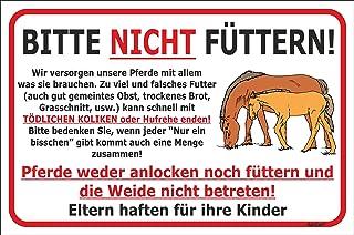 AdriLeo Schild - Pferde Nicht füttern - Weide betreten verboten 15x20, 20x30, 30x40 oder 40x60cm