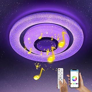 Wayrank Plafonnier Led RGB avec Haut-parleur Bluetooth, Lustre LED Dimmable avec Télécommande et Contrôle APP, Eclairage d...