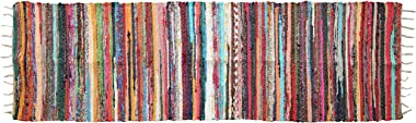 "About Home Handwoven Multi-Coloured Chindi Rag Rug, Carpet for Living Room and Entry Way (24""x78"" - 2'x6.5')"