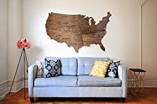 Wooden Wall Map United States Map Large Map of USA wood birch gift Housewarming for couple new home home decor Office decor Wall decor Dorm Living room By Enjoy The Wood 150 ?94 100x61