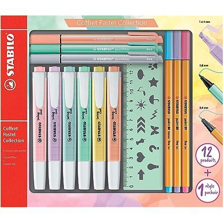 STABILO Pastel Collection Set –Confezione mista 13pezzi: 6swing cool pastel, 3point 88, 3pointMax, 1righello stencil
