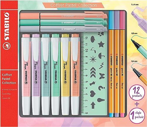Stabilo Pastel Collection – Estuche mixto de 13 piezas: 6 Stabilo Swing Cool + 3 Stabilo Point 88 + 3 Stabilo PointMa...