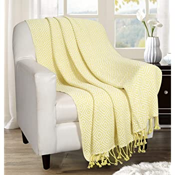 Throw Blanket with Fringes in Diamond Design 50x60 Inch -Lime Yellow Cotton Throw for Sofa, Chair, Bed, & Everyday Use, Well Crafted for Durability, Farmhouse Throw,All Season Throw Blanket