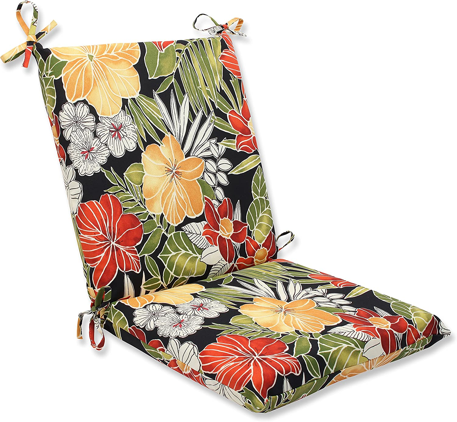 Pillow Perfect Outdoor Clemens Squared Corners Chair Cushion, black