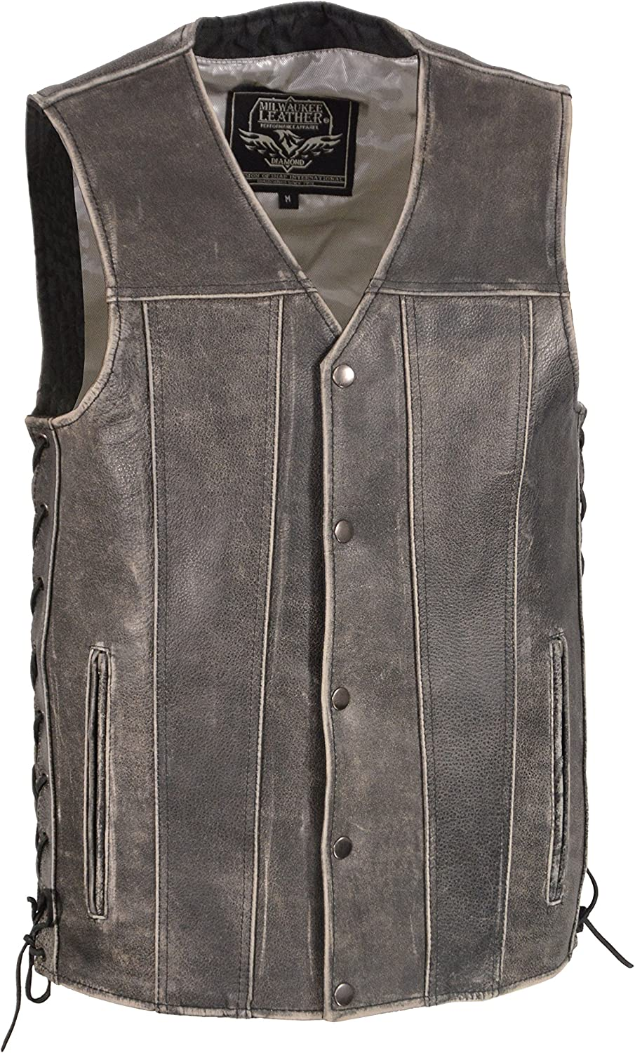 Men's Distressed Gray Straight Bottom Side Lace Vest