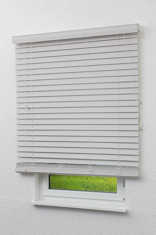 FURNISHED Wei/ße Jalousien mit Holz-Effekt 50 mm Nach Ma/ß f/ür bis zu 240 x 210 cm