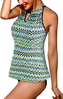 87833d08a5 Saejous Women's Print Tankini Swimsuit Top Sexy Keyhole High Neck Bathing  Suit with Ruffle Hem