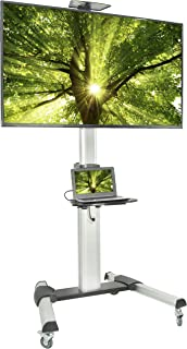 VIVO Ultra Heavy Duty TV Cart for 37 to 70 inch Flat Screen Panel | Mobile Rolling Stand with Dual Shelves and 3 inch Wheels (STAND-TV09)