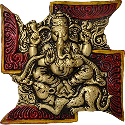 Two Moustaches Brass Swastik Ganesha Wall Hanging (Multicolour, 7 x 7 Inches)