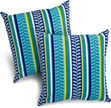 Blazing Needles Outdoor Spun Poly 20-Inch by 20-Inch by 6-Inch Throw Pillow, Pike Azure, Set of 2