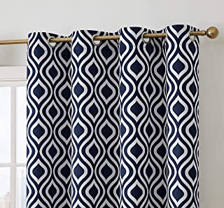 HLC.ME Ogee Print Pattern Blackout Grommet Curtain Panels for Bedroom - 99% Light Blocking - Thermal Insulated Decorative Pair for Privacy & Room Darkening - Set of 2 (52 W x 84 L Inch, Navy Blue)