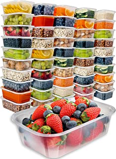 Food Storage Containers with Lids (50 Pack, 25 Ounce) - Food Containers Meal Prep Plastic Containers with Lids Food Prep C...