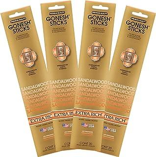چوب صندل Gonesh Collection-4 بسته بخور فوق العاده غنی ، مجموعه ای از چهار قطعه 20 چوبی-GOA4SA