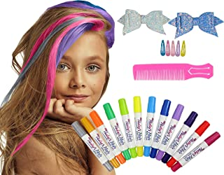 Ruby's Hair Chalk Salon For Girls,Kids Temporary Hair Color, Popular Girls Toys And Gifts Age 4, 5, 6, 7, 8, 9, 10, 11, 12 Year Old Teen Girl Gifts