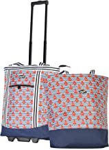 Olympia 2-Piece Rolling Shopper Tote and Cooler Bag, Anchor, One Size