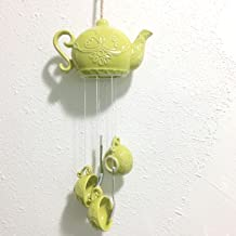 Pretty Home Porcelain Teapot Tea cup Wind chime , Indoor / Outdoor Decoration (Green)