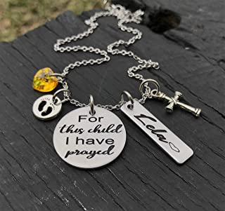 For This Child I Have Prayed | 1 Samuel 1:27 | New Baby Necklace | New Mom Necklace | Bible Verse Necklace | Religious Necklace | Cross Necklace